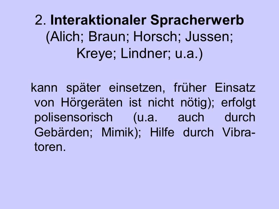 2. Interaktionaler Spracherwerb (Alich; Braun; Horsch; Jussen; Kreye; Lindner; u.a.)