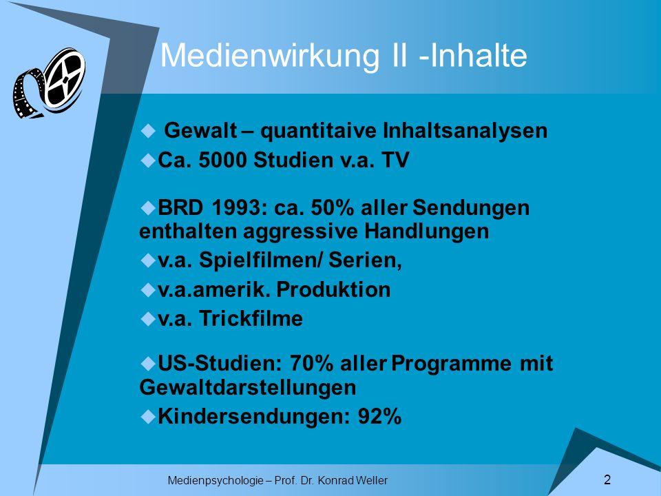 Medienwirkung II -Inhalte