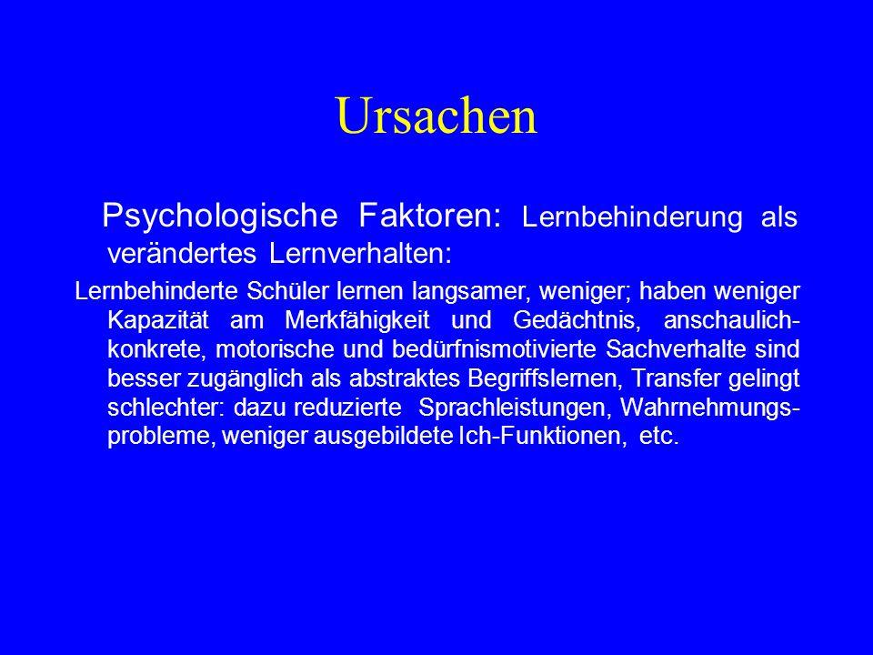 Ursachen Psychologische Faktoren: Lernbehinderung als verändertes Lernverhalten: