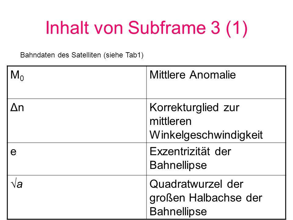Inhalt von Subframe 3 (1) M0 Mittlere Anomalie Δn