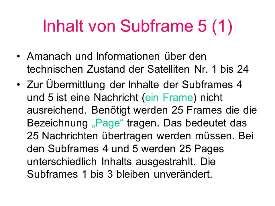 Inhalt von Subframe 5 (1)Amanach und Informationen über den technischen Zustand der Satelliten Nr. 1 bis 24.