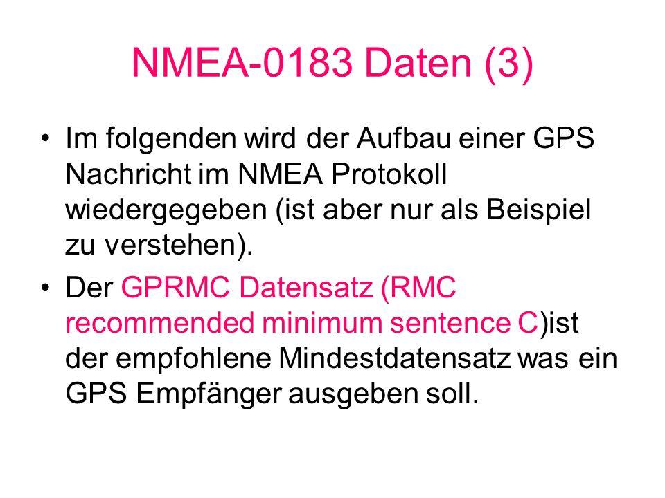 NMEA-0183 Daten (3)Im folgenden wird der Aufbau einer GPS Nachricht im NMEA Protokoll wiedergegeben (ist aber nur als Beispiel zu verstehen).