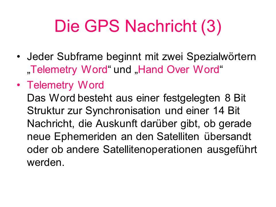 """Die GPS Nachricht (3)Jeder Subframe beginnt mit zwei Spezialwörtern """"Telemetry Word und """"Hand Over Word"""