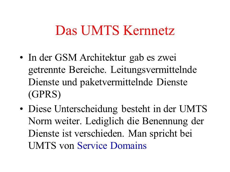 Das UMTS Kernnetz In der GSM Architektur gab es zwei getrennte Bereiche. Leitungsvermittelnde Dienste und paketvermittelnde Dienste (GPRS)