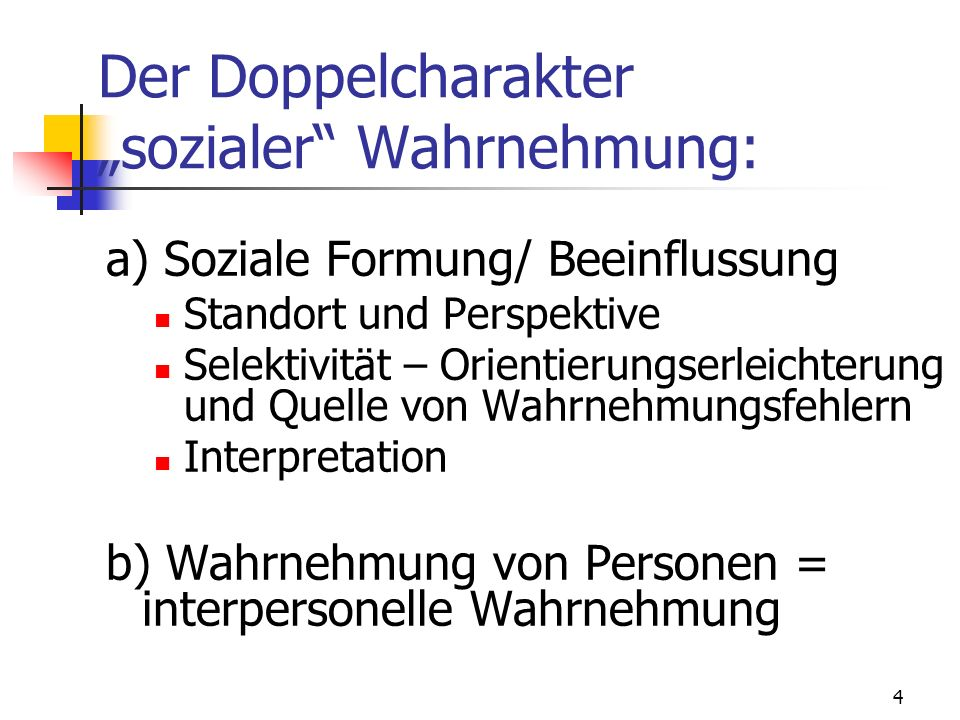 "Der Doppelcharakter ""sozialer Wahrnehmung:"