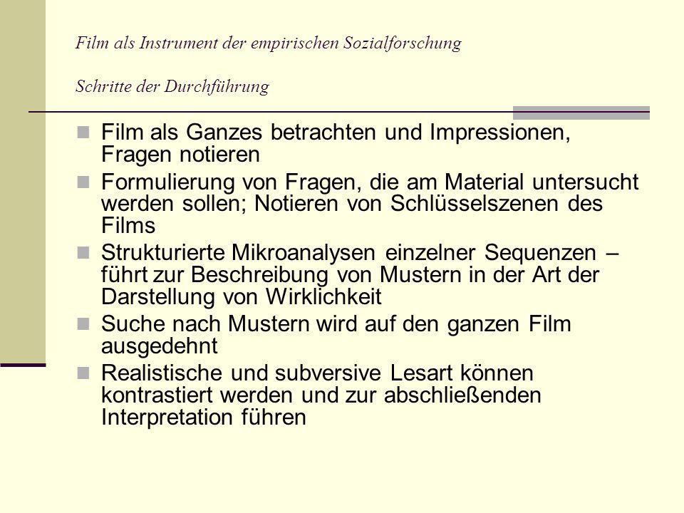 Film als Ganzes betrachten und Impressionen, Fragen notieren