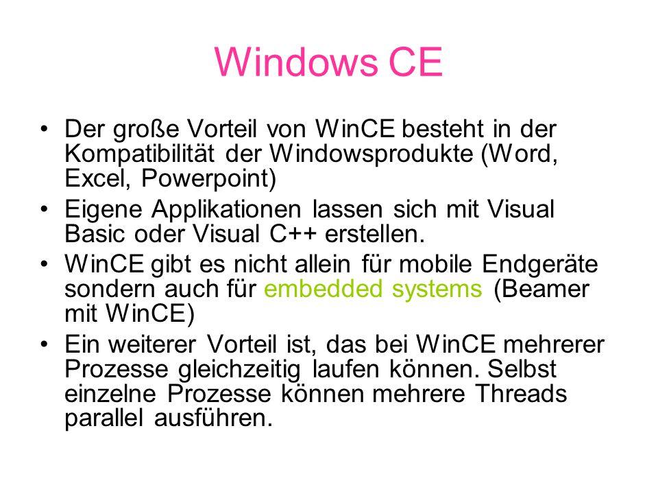 Windows CE Der große Vorteil von WinCE besteht in der Kompatibilität der Windowsprodukte (Word, Excel, Powerpoint)
