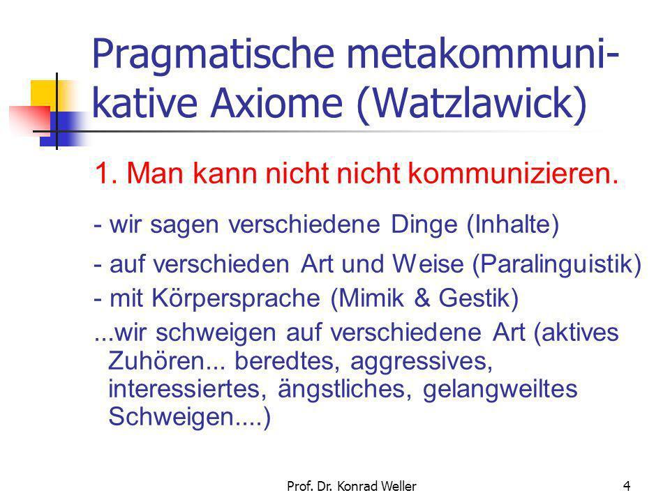 Pragmatische metakommuni-kative Axiome (Watzlawick)