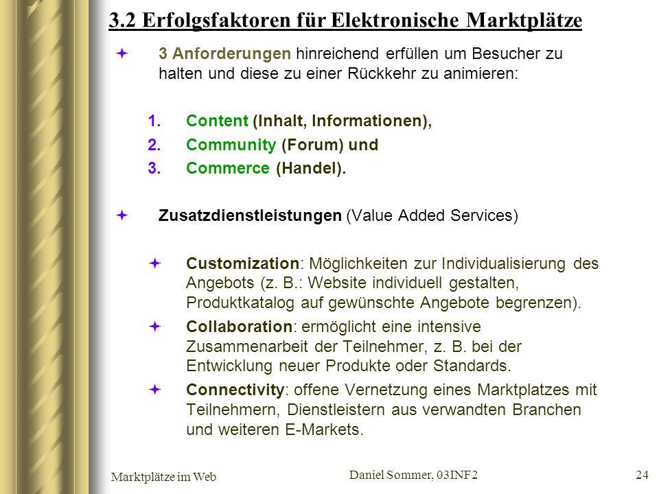 3.2 Erfolgsfaktoren für Elektronische Marktplätze