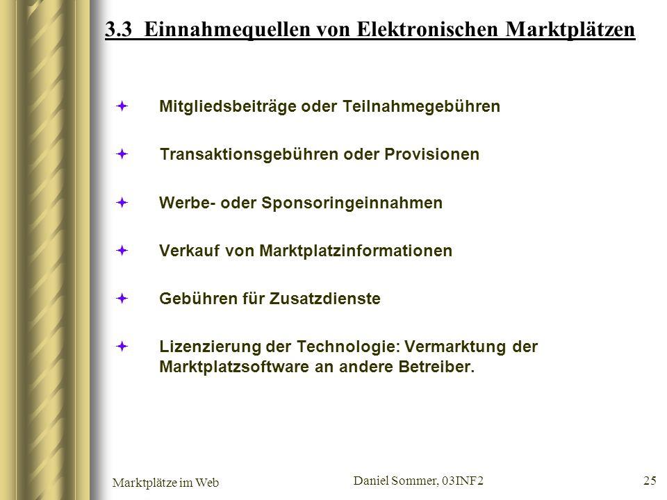 3.3 Einnahmequellen von Elektronischen Marktplätzen