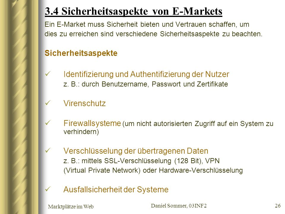 3.4 Sicherheitsaspekte von E-Markets