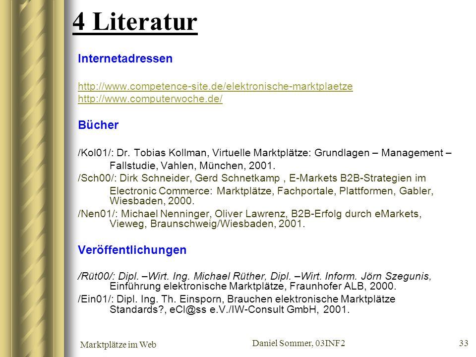 4 Literatur Internetadressen Bücher Veröffentlichungen