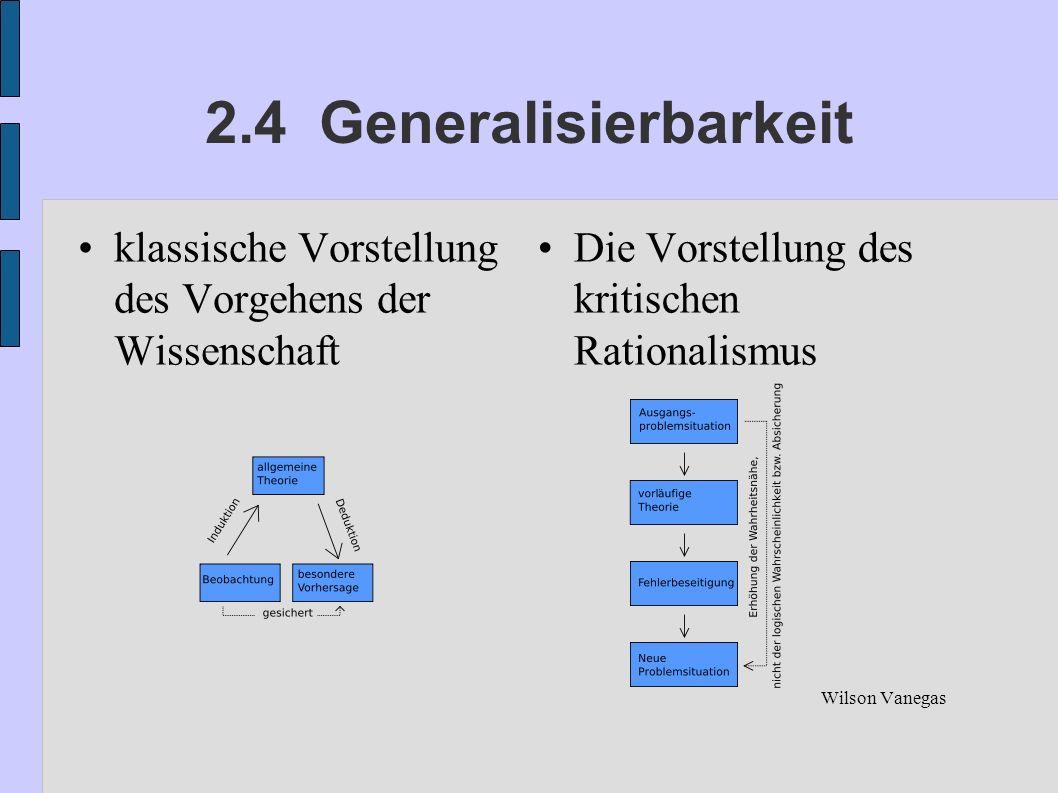 2.4 Generalisierbarkeit klassische Vorstellung des Vorgehens der Wissenschaft. Die Vorstellung des kritischen Rationalismus.