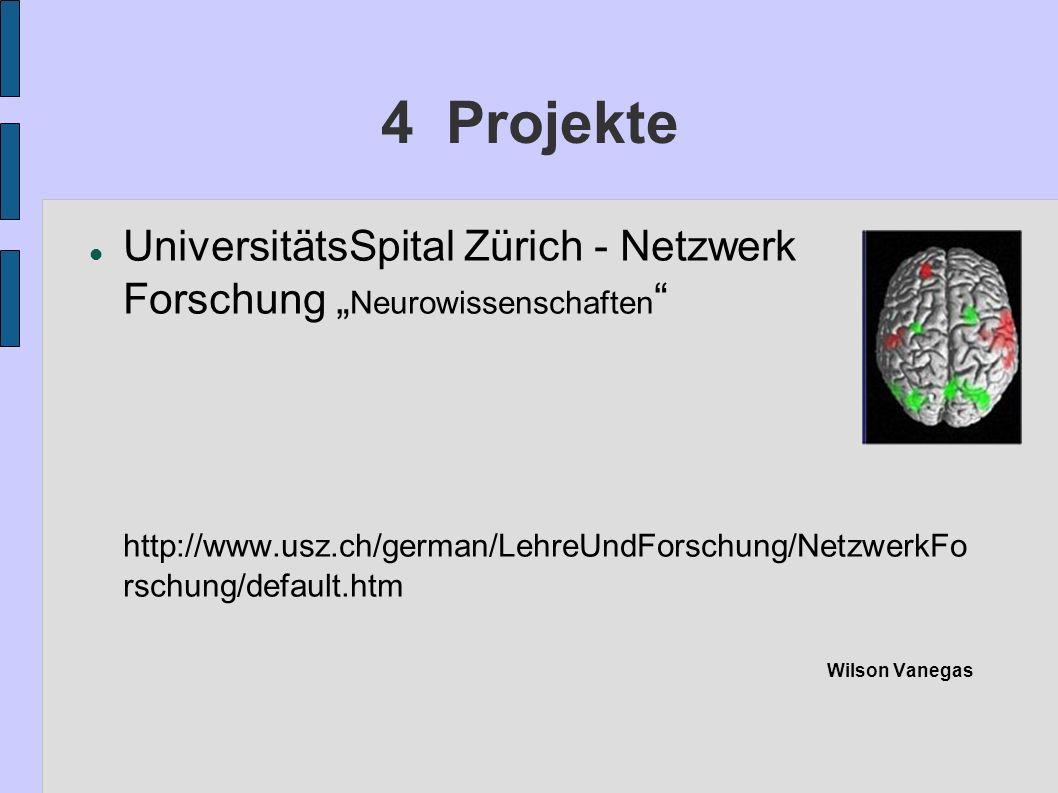 """4 Projekte UniversitätsSpital Zürich - Netzwerk Forschung """"Neurowissenschaften"""