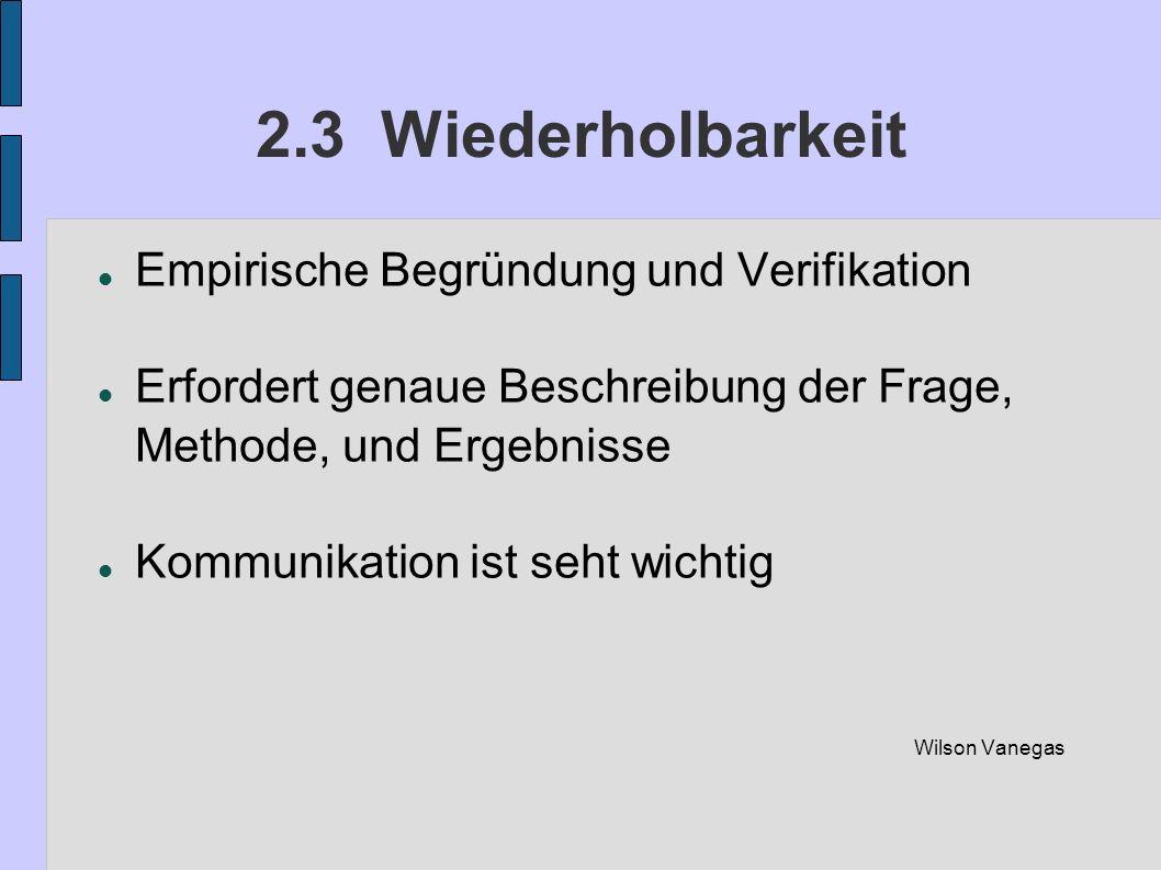 2.3 Wiederholbarkeit Empirische Begründung und Verifikation