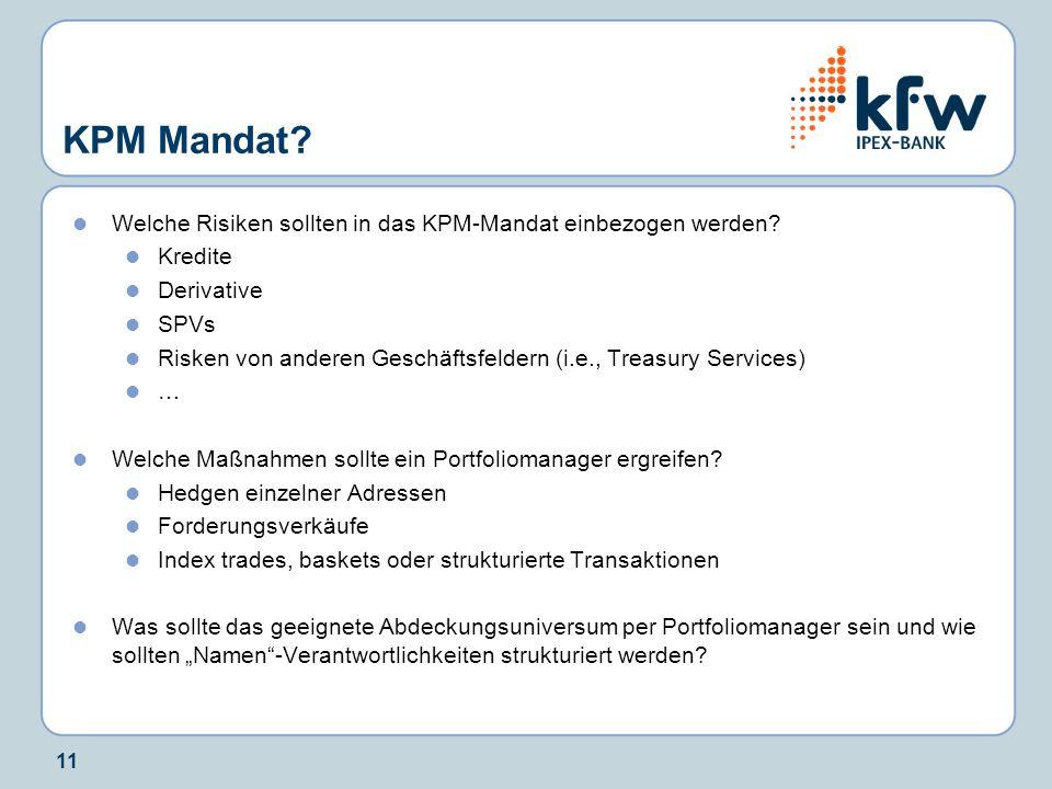 KPM Mandat Welche Risiken sollten in das KPM-Mandat einbezogen werden Kredite. Derivative. SPVs.