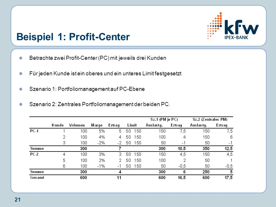 Beispiel 1: Profit-Center