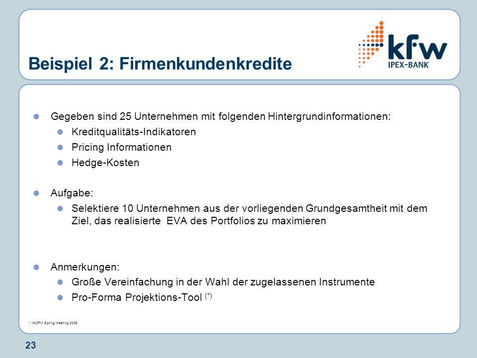 Beispiel 2: Firmenkundenkredite