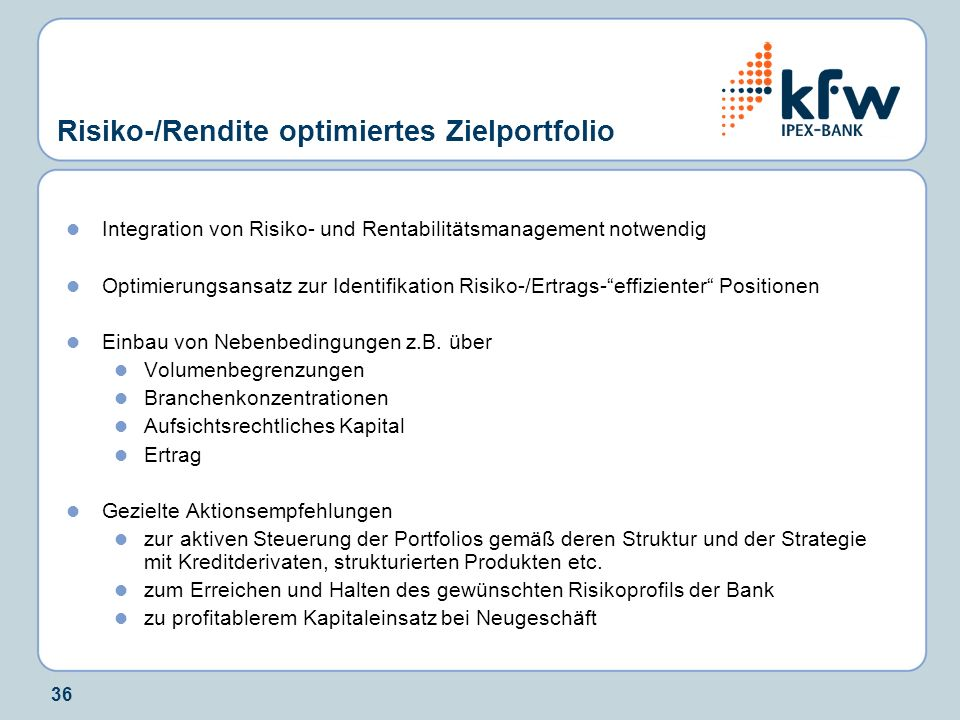 Risiko-/Rendite optimiertes Zielportfolio