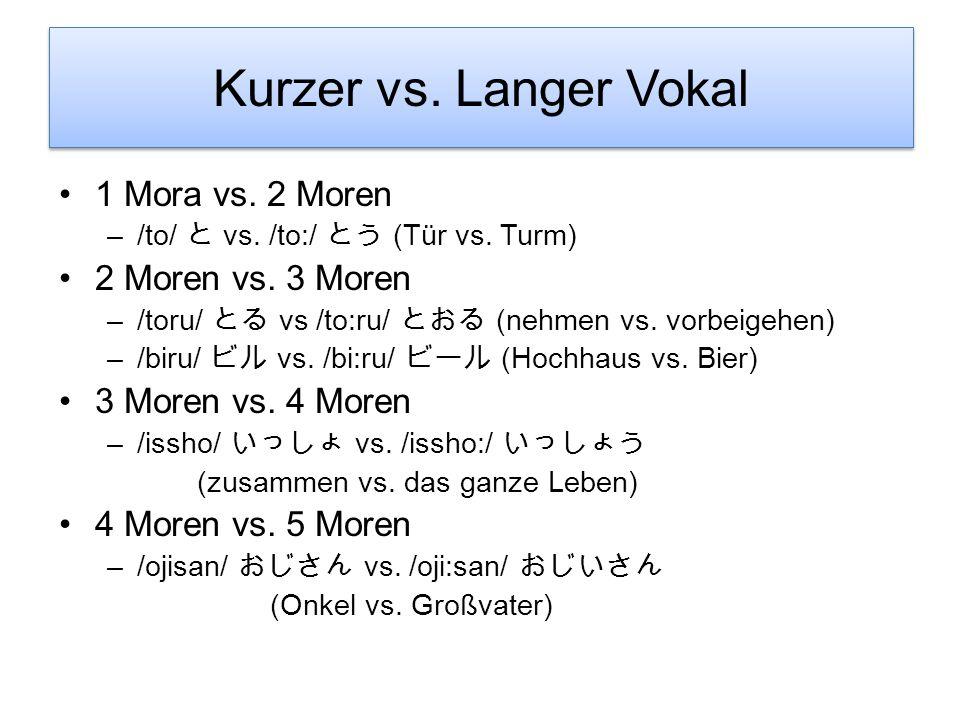Kurzer vs. Langer Vokal 1 Mora vs. 2 Moren 2 Moren vs. 3 Moren