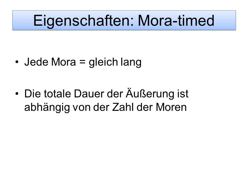 Eigenschaften: Mora-timed