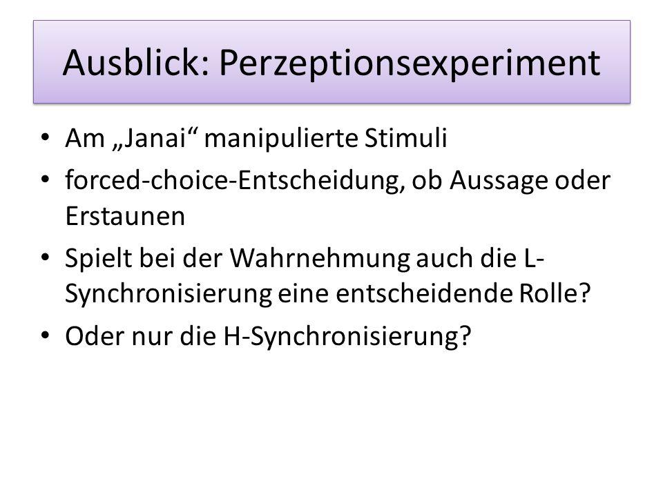 Ausblick: Perzeptionsexperiment