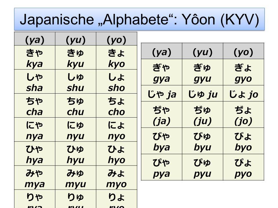 """Japanische """"Alphabete : Yôon (KYV)"""