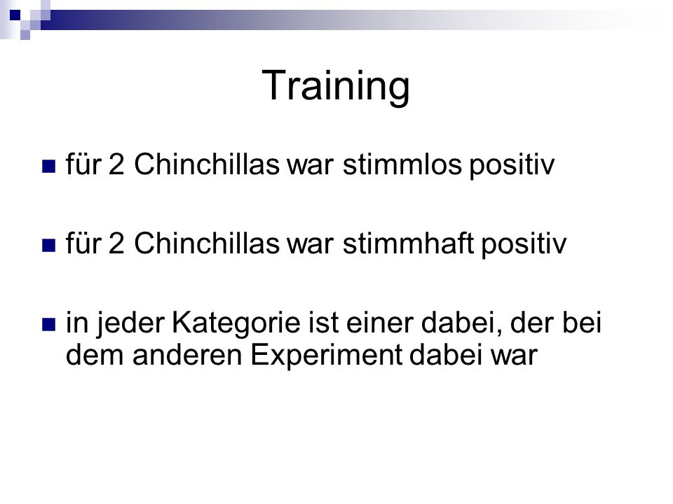 Training für 2 Chinchillas war stimmlos positiv