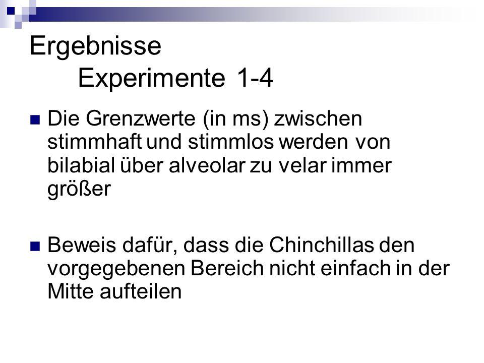 Ergebnisse Experimente 1-4