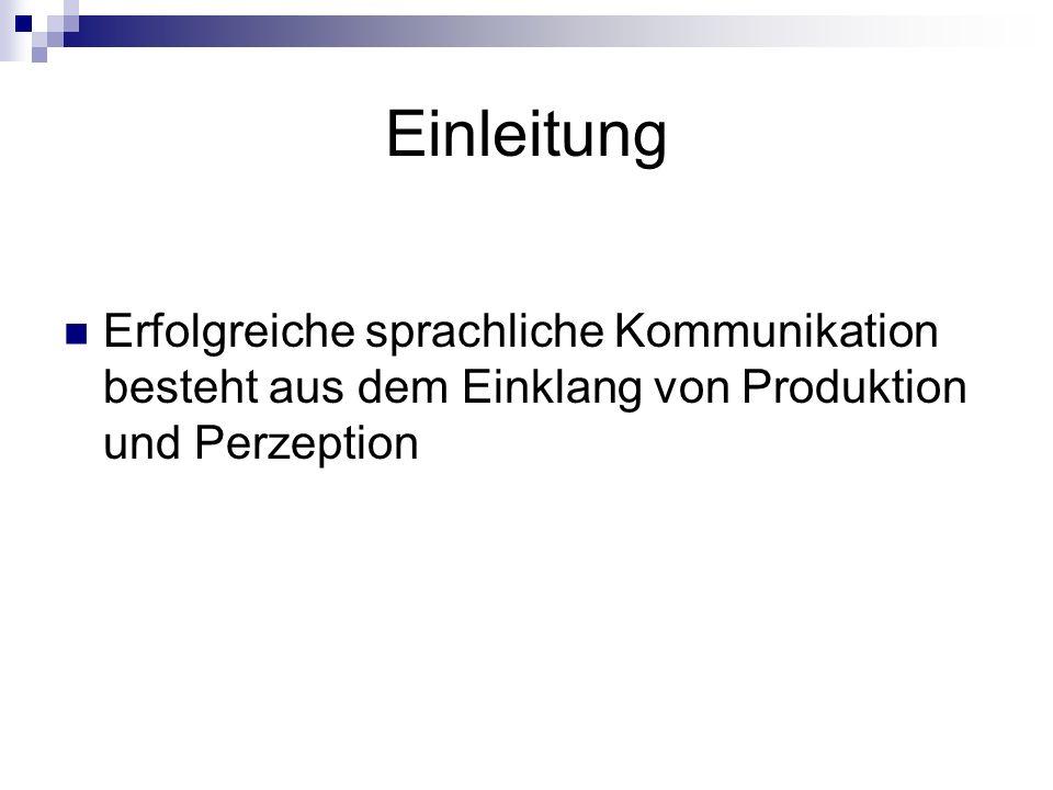 Einleitung Erfolgreiche sprachliche Kommunikation besteht aus dem Einklang von Produktion und Perzeption.