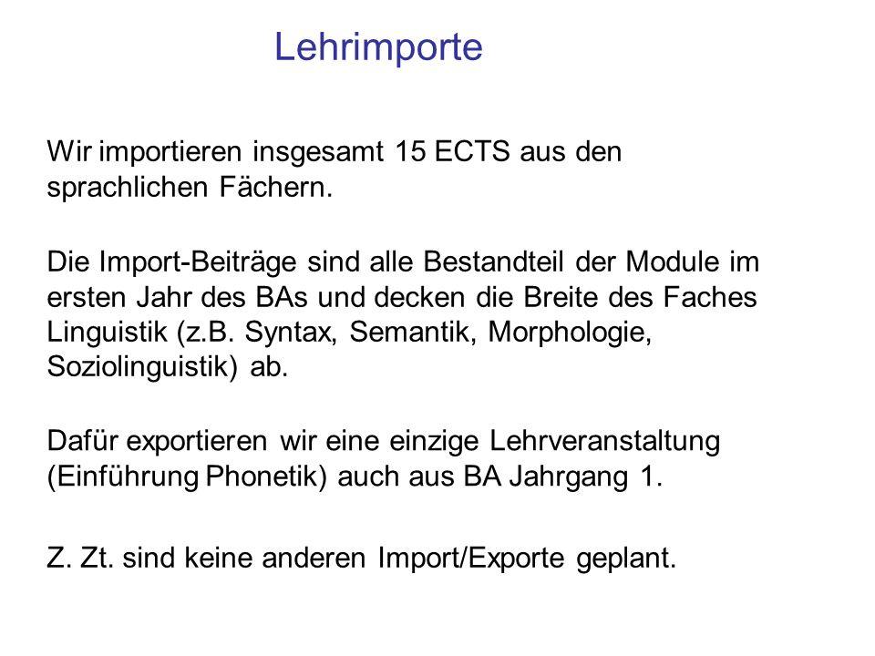 Lehrimporte Wir importieren insgesamt 15 ECTS aus den sprachlichen Fächern.