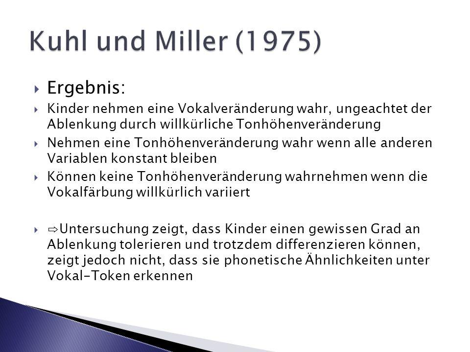 Kuhl und Miller (1975) Ergebnis: