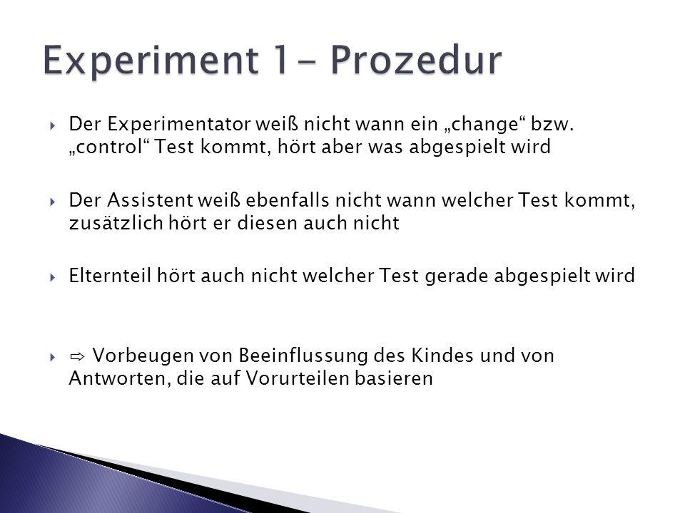 """Experiment 1- Prozedur Der Experimentator weiß nicht wann ein """"change bzw. """"control Test kommt, hört aber was abgespielt wird."""