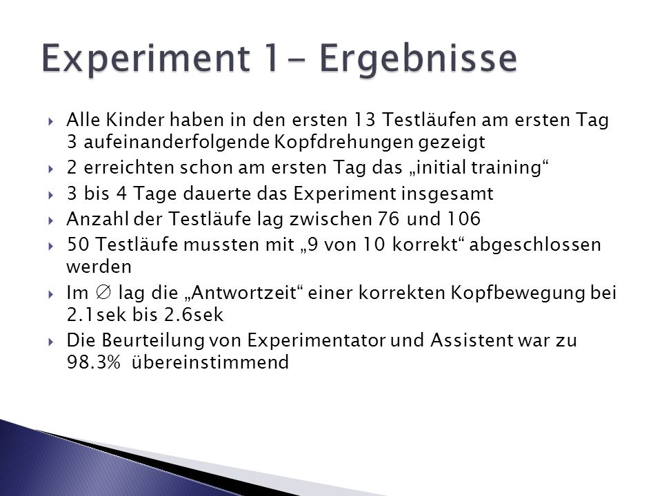 Experiment 1- Ergebnisse