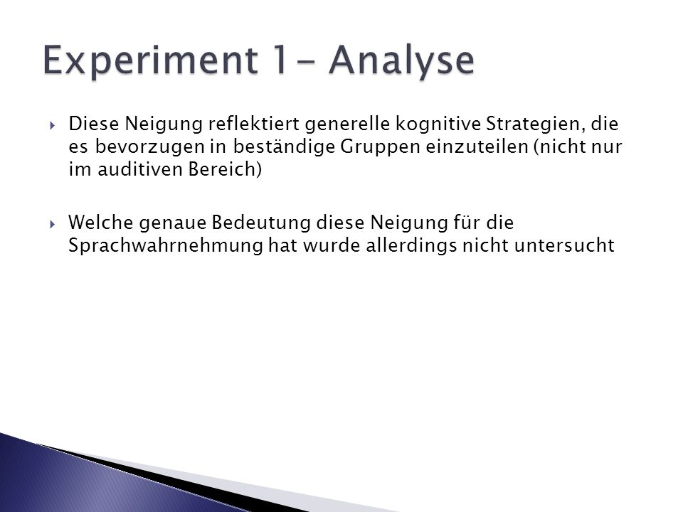 Experiment 1- Analyse