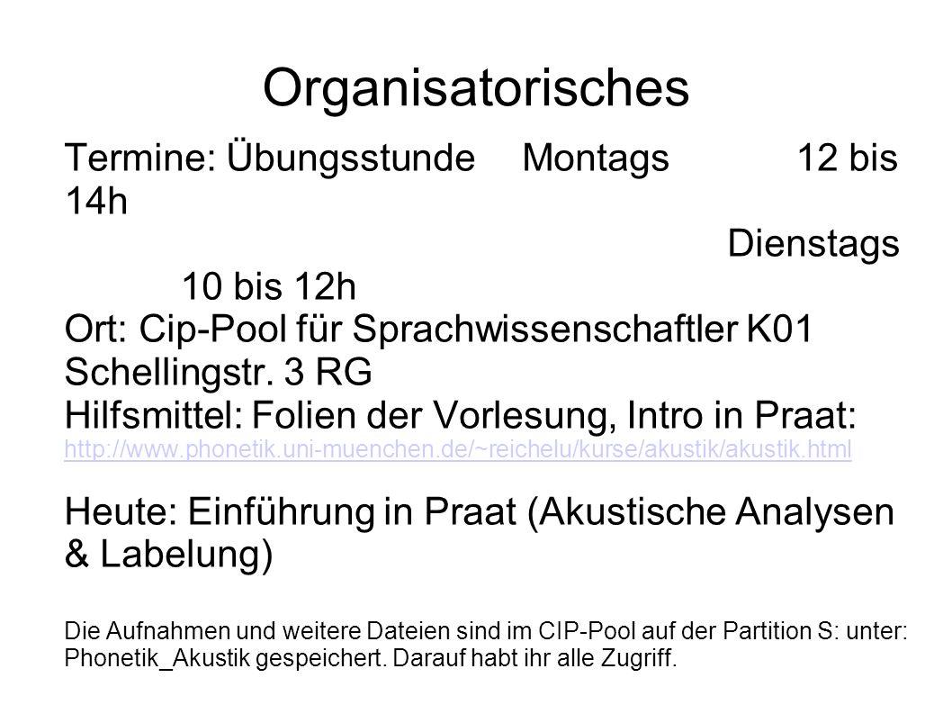 Organisatorisches Termine: Übungsstunde Montags 12 bis 14h