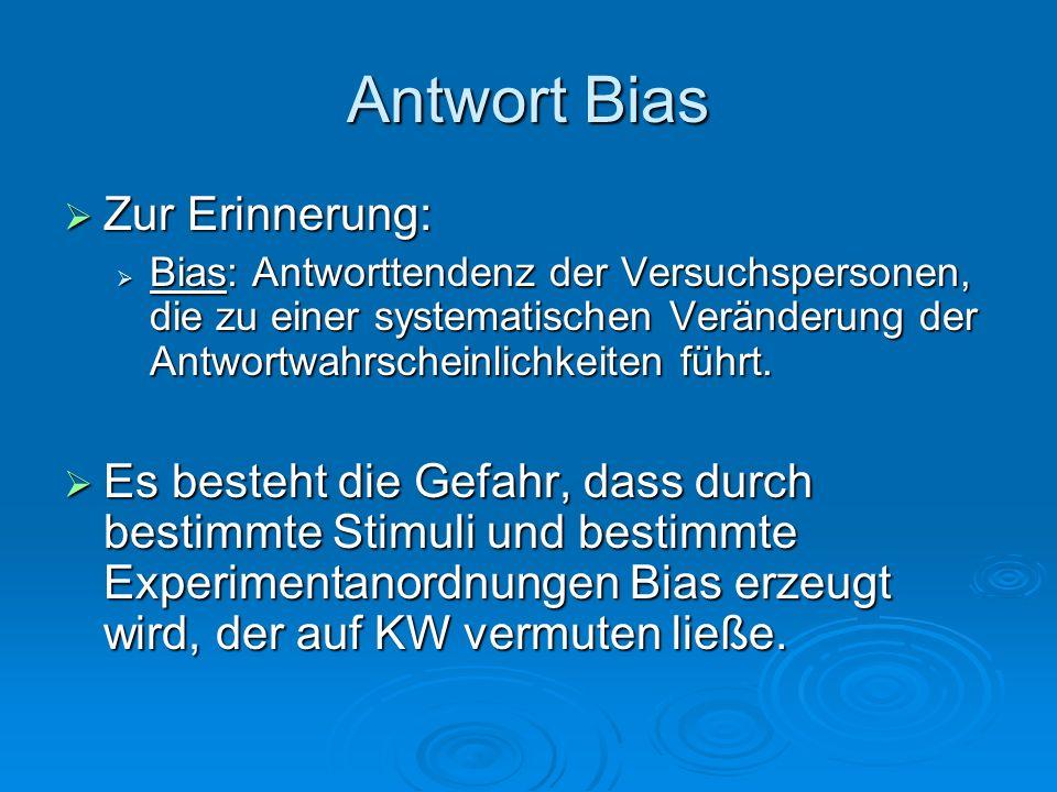 Antwort Bias Zur Erinnerung: