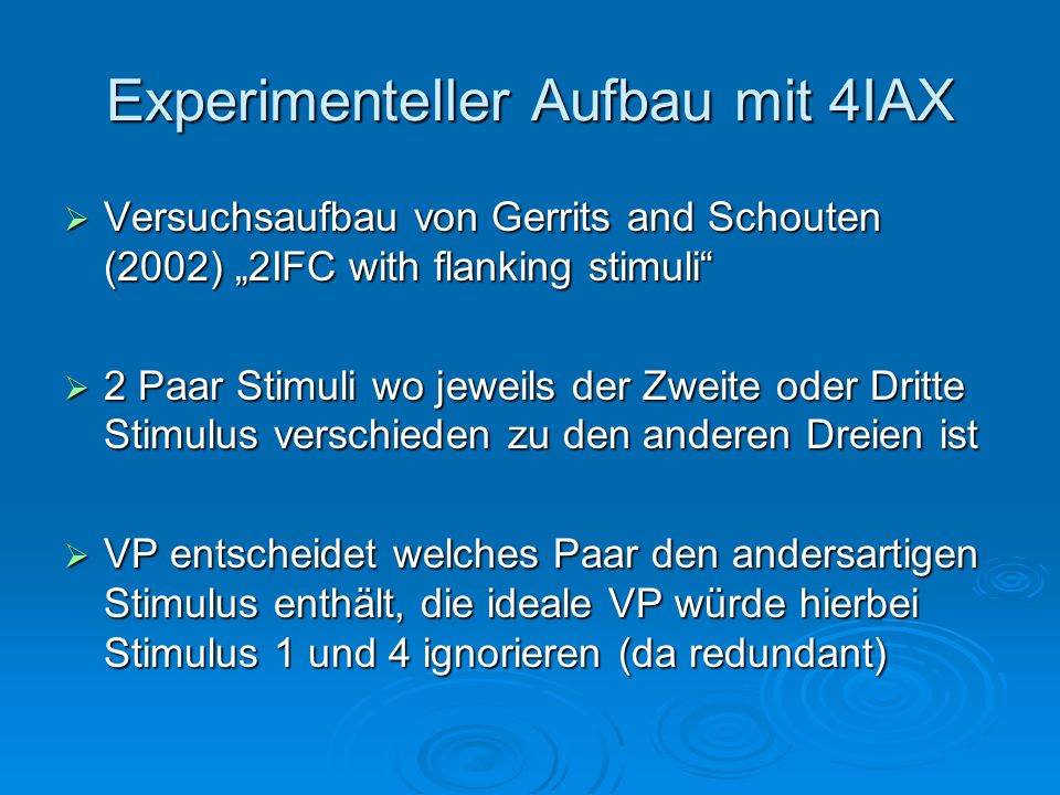 Experimenteller Aufbau mit 4IAX
