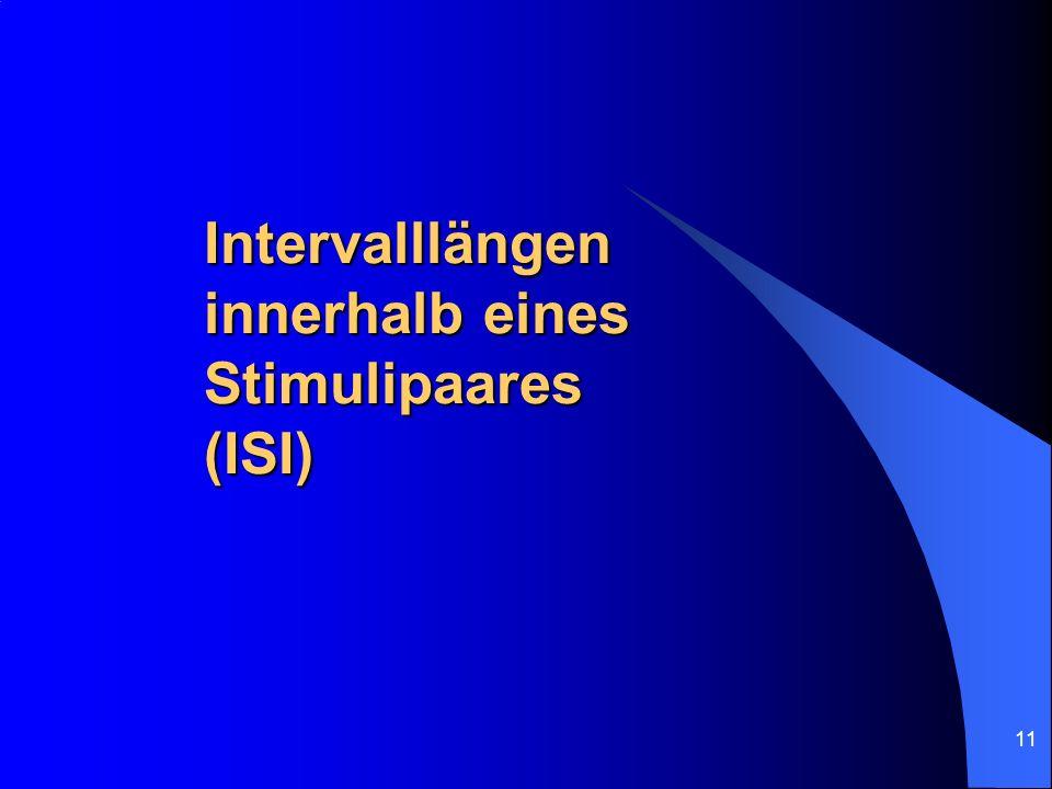 Intervalllängen innerhalb eines Stimulipaares (ISI)