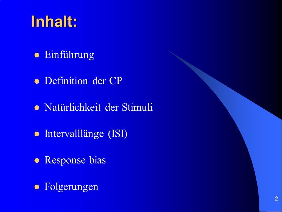 Inhalt: Einführung Definition der CP Natürlichkeit der Stimuli