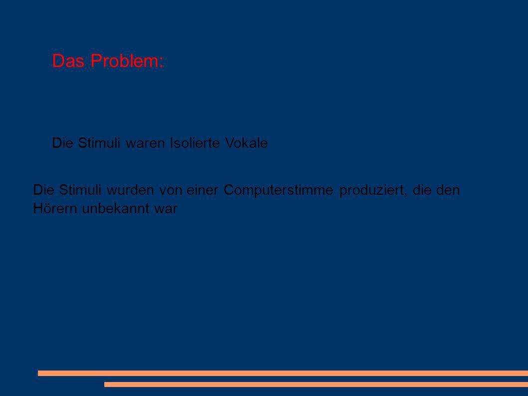 Das Problem: Die Stimuli waren Isolierte Vokale