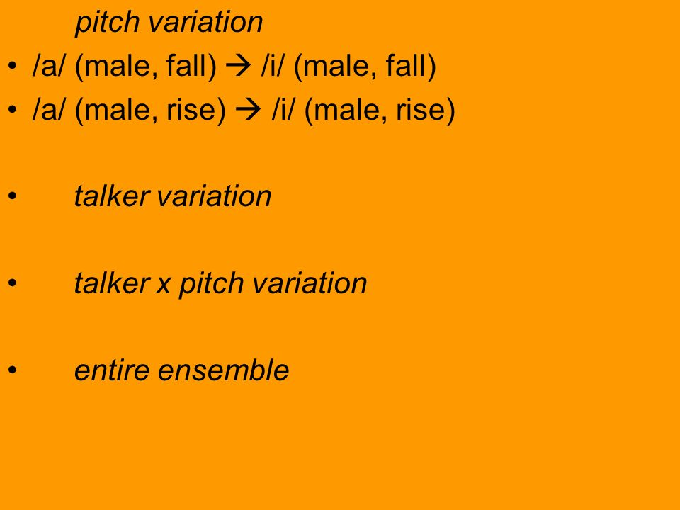 pitch variation/a/ (male, fall)  /i/ (male, fall) /a/ (male, rise)  /i/ (male, rise) talker variation.