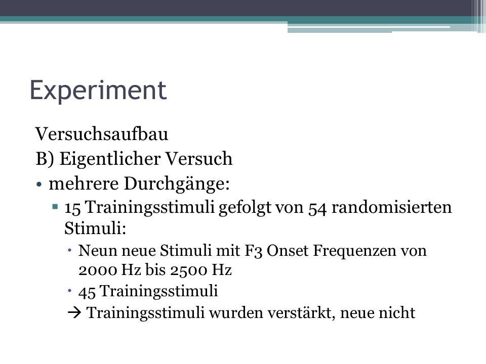 Experiment Versuchsaufbau B) Eigentlicher Versuch mehrere Durchgänge: