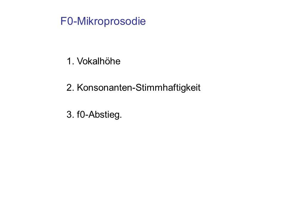 F0-Mikroprosodie 1. Vokalhöhe 2. Konsonanten-Stimmhaftigkeit