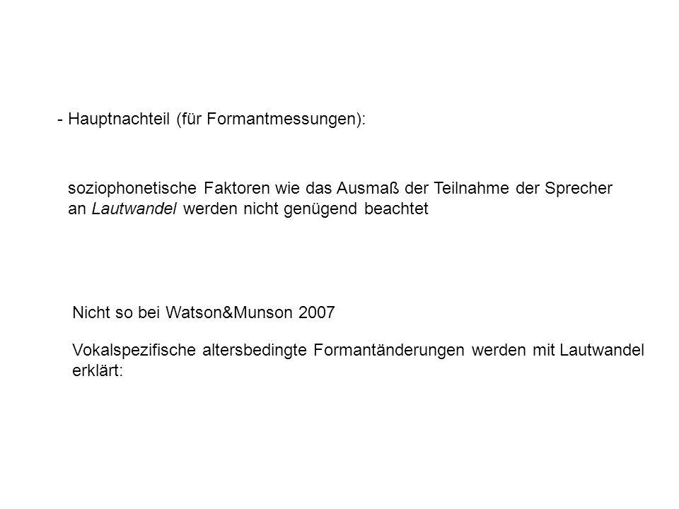 - Hauptnachteil (für Formantmessungen):