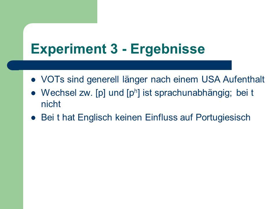 Experiment 3 - Ergebnisse