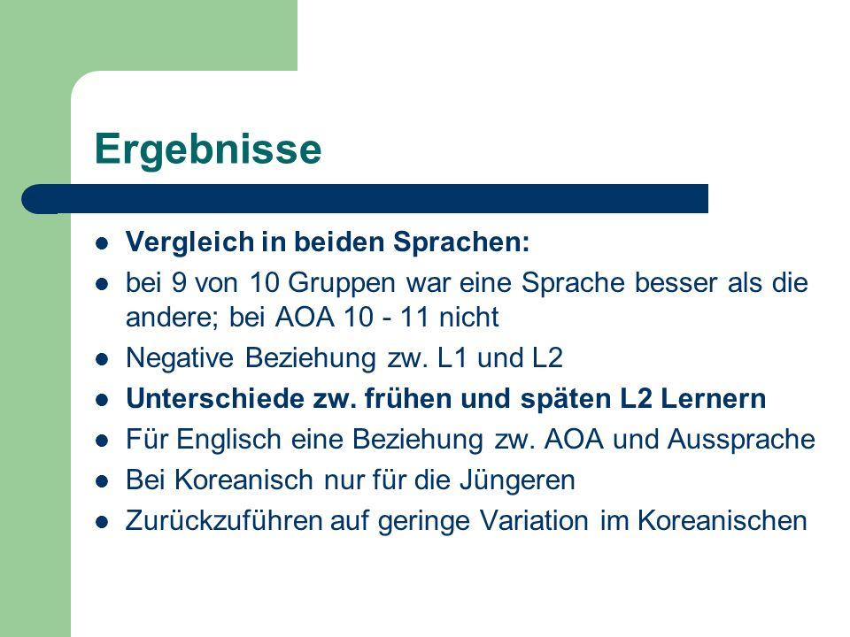 Ergebnisse Vergleich in beiden Sprachen:
