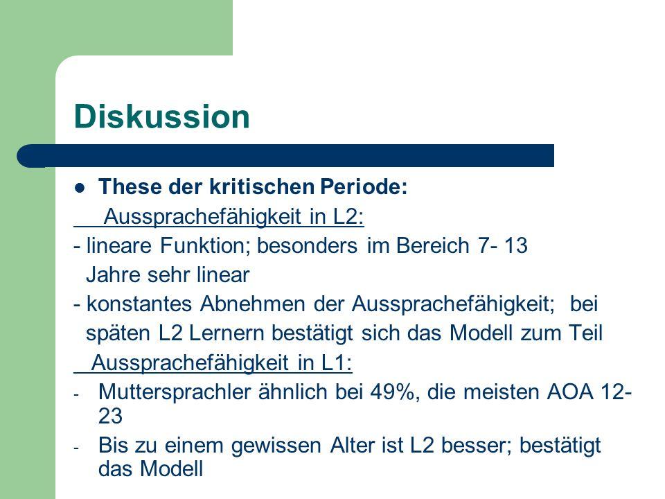 Diskussion These der kritischen Periode: Aussprachefähigkeit in L2:
