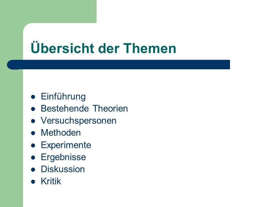 Übersicht der Themen Einführung Bestehende Theorien Versuchspersonen