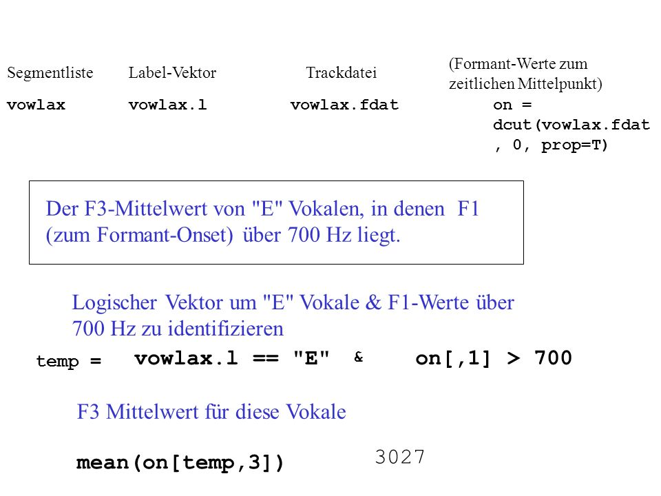 F3 Mittelwert für diese Vokale
